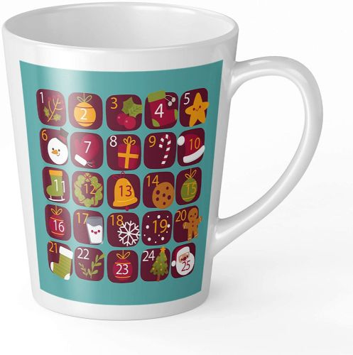 Christmas Calendar Blue Novelty Gift Latte Mug